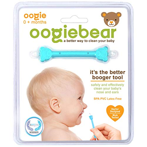 oogiebear - The Safe Baby Nasal Booger and Ear Cleaner; Baby Shower and Registry Essential Snot Removal Tool - 1 Count (Best Way To Relieve Head Congestion)