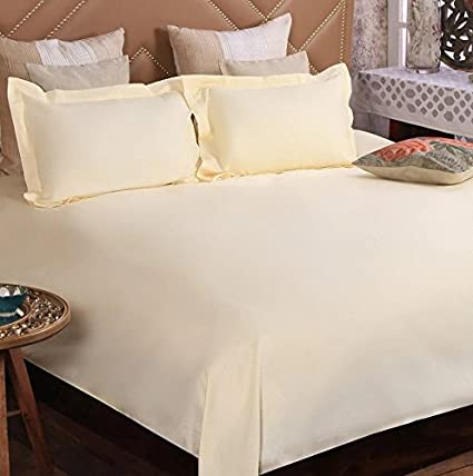 First Row Light Yellow Solid Cotton Double Bed Sheet with Two Pillow Cover  : Amazon.in: Home & Kitchen