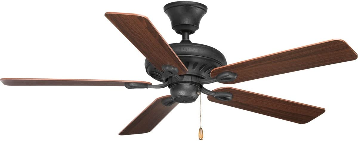 Progress Lighting P2521-80 Protruding Mount, 5 Classic Blades Ceiling fan, Forged Black