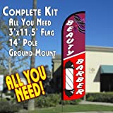 Beauty & Barber Windless Feather Banner Flag Kit (Flag, Pole, & Ground Mt)