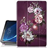 Hocase Galaxy Tab A 10.1 Case, SM-T580/T585 (NO S Pen Version) Case, PU Leather Case w/Flower Design, Auto Sleep/Wake Feature, Hard Back Cover for Samsung Galaxy Tab A 10.1-Inch - Burgundy Flowers