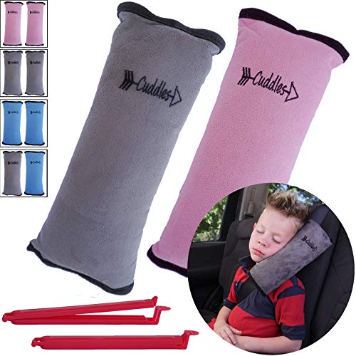 Booster Seat Pillow - Seat Belt Pillow for Kids by Cuddles | 2 Pack Seatbelt Pillow| seat Belt Pillows| Kids Seatbelt Pillow| Seatbelt Pillow for Kids| car Travel Head Cushion, Washable Cover, Headrest Pink Gray