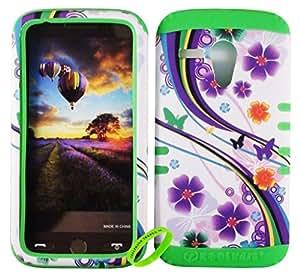 Cellphone Trendz High Impact Hybrid Rocker Protective Case for Motorola Moto G XT1032 - Purple Flower Butterfly Design Hard Shell on Lime Green