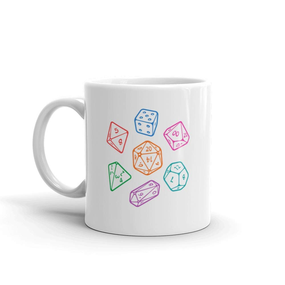 Set Of Board Game Dices D20 Tea Fun Mug Ceramic 11 Oz