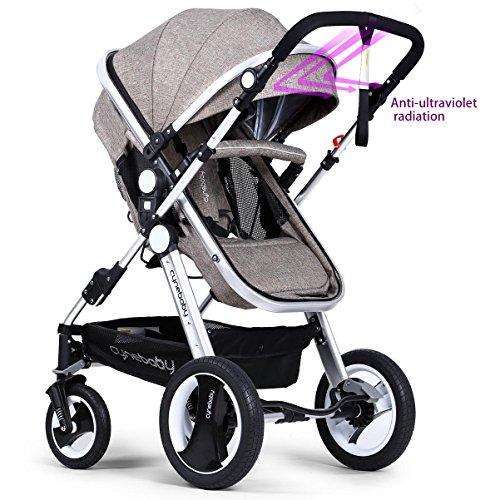 Infant Toddler Baby Stroller Carriage - Cynebaby Compact Pram Strollers add Tray (Khaki) by cynebaby (Image #3)