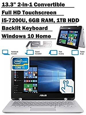 2017 Newest Premium ASUS Q304UA 13.3-inch 2-in-1 Touchscreen Full HD Laptop PC, 7th Intel Core i5-7200U up to 3.1GHz, 6GB RAM, 1TB HDD, Silver