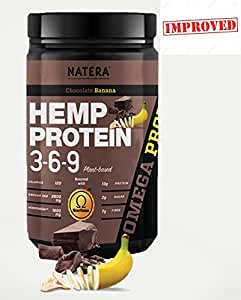 Best Hemp Protein Powder (1 lbs) + Ging Seng Extract, Chocolate Banana NATERA 3-6-9 Plant Based Supplement, Patented HempOmega Formula for Fast Absorption and Muscle Recovery