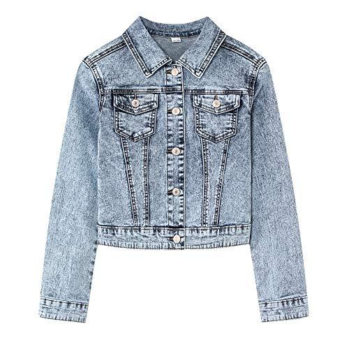 YUKE Girl's Denim Jacket Kid Embroidered Hole Denim Jacket Female Denim Clothing Coat 9-15 Age (Snow Blue, 11-12 Years/Reference Height 24/152)