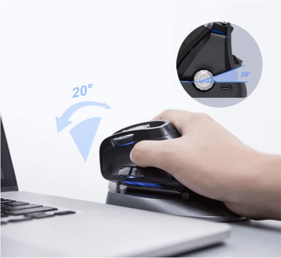 Wireless Mouse Color : Black CQIANG Mouse Gaming mice PCs Ergonomic Vertical Three-Mode Rechargeable Vertical Mouse Suitable for laptops Macs Office Laptop