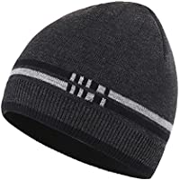 317a7731c0e Connectyle Men s Daily Warm Winter Hats Thick Knit Beanie Cap With Lining  Skull Cap