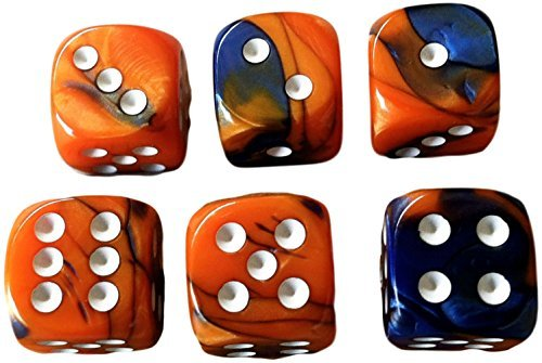 Custom & Unique {Standard Medium 16mm} 6 Ct Pack Set of 6 Sided [D6] Square Cube Shape Playing & Game Dice w/ Rounded Corner Edges w/ Swirl Pearl Agate Stone Two Tone Design [Orange, Blue & White] (Cube Playing)