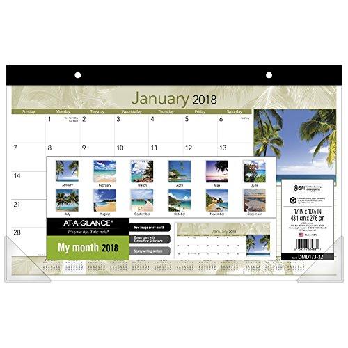 Compact Desk Calendar (AT-A-GLANCE Compact Monthly Desk Pad Calendar, January 2018 - December 2018, 17