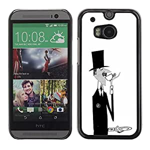 Cubierta protectora del caso de Shell Plástico || HTC One M8 || Black White Coffee Moustache @XPTECH