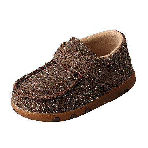 Twisted X Boys and Girls Infant Driving Moc Shoes, Chocolate Shimmer, Size 4 ()
