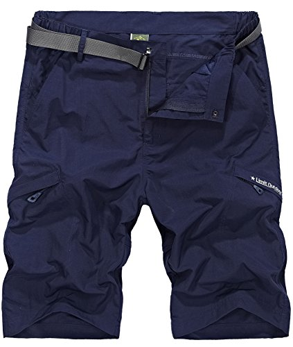(Vcansion Men's Outdoor Lightweight Hiking Shorts Quick Dry Shorts Sports Casual Shorts Navy US 34 )