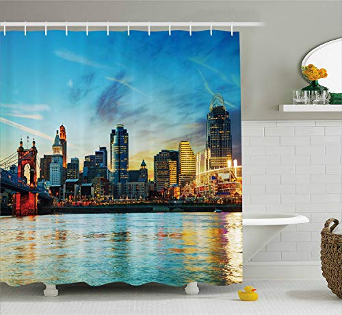 Ambesonne Cincinnati Shower Curtain, Overview of The City Nighttime at Dusk Twilight Bridge Ohio River Waterfront, Cloth Fabric Bathroom Decor Set with Hooks, 70 Inches, Multicolor