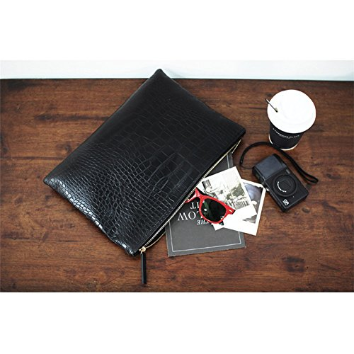 NIGEDU Women Clutches Crocodile Grain PU Leather Envelope Clutch Bag (Black) by NIGEDU (Image #3)
