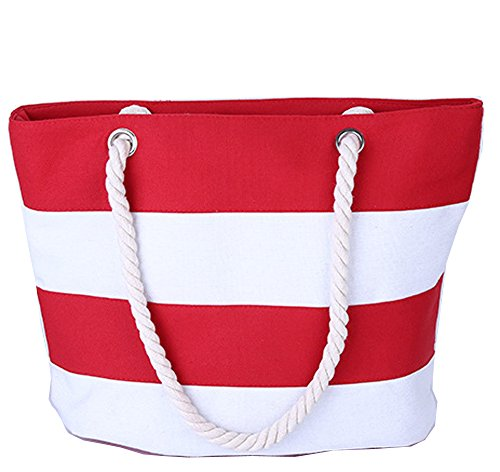 Pulama Womens Beach Tote Canvas Shoulder Bag Wave Striped Anchor Summer Handbag Top Handle Bag Straw Beach Bag Red White Strip