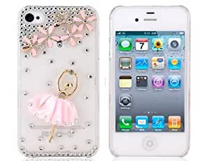 ETOU Crystal Ballet Girl Pattern Plastic Case for iPhone 4/ 4S (Pink)