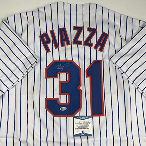 Autographed/Signed Mike Piazza New York NY Pinstripe Baseball Jersey Beckett BAS COA ()