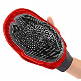 Oneisall Pet Two-sided 2-in-1 Grooming Glove Hair Remover Bath Brush for Shedding Massager for Dog & Cat
