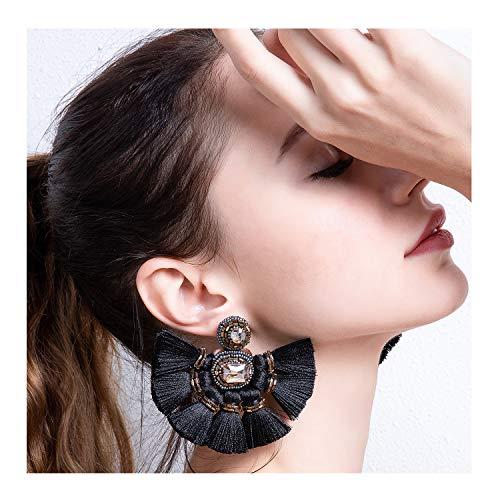 Black Fan Tassel Earrings Hoop Drop Dangle Earrings For Women Fashion Bohemian Statement Handmade Beaded Big Earrings Fanned Round Large Hanging Wedding Boho Fringe Tassel Earrings (Black Bohemian Crystal Chandelier)