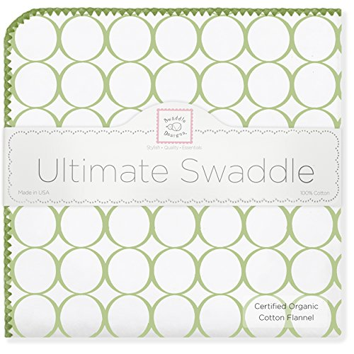 (SwaddleDesigns Organic Ultimate Swaddle, X-Large Receiving Blanket, Made in USA Premium Cotton Flannel, Mod Circles with Jewel Tone Trim, Kiwi (Mom's Choice Award Winner))