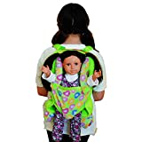 Green Plush Child Sz. Backpack with Built-in Doll Carrier & Sleeping Bag for 18