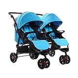 SOGAR Detachable Folded Double Baby Stroller Triplets Multiple Children's Cart, Blue