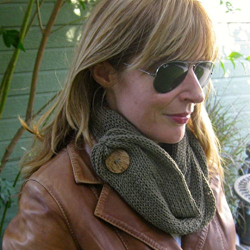 Taupe Olive Green Handmade Merino Wool Knit Infinity Cowl Scarf with Coconut Button