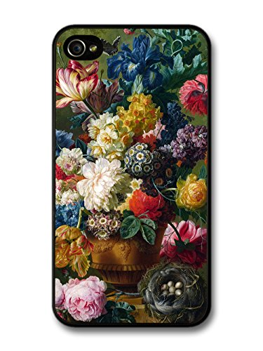 Beautiful Retro Vintage Painting of Flowers in Vase Design case for iPhone 4 4S