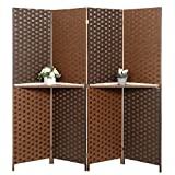 Dual-Tone Bamboo Woven 4-Panel Room Divider with Removable Display Shelf