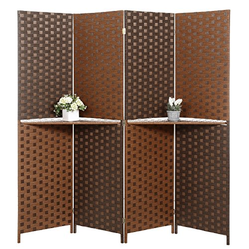 Dual-Tone Bamboo Woven 4-Panel Room Divider with Removable Display Shelf by MyGift