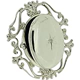 TOC Sterling Silver Clear Crystal Set Filigree Oval Locket Brooch