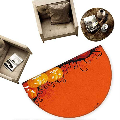 Spider Web Semicircular Cushion Three Halloween Pumpkins Abstract Black Web Pattern Trick or Treat Entry Door Mat H 63'' xD 94.5'' Orange Marigold Black