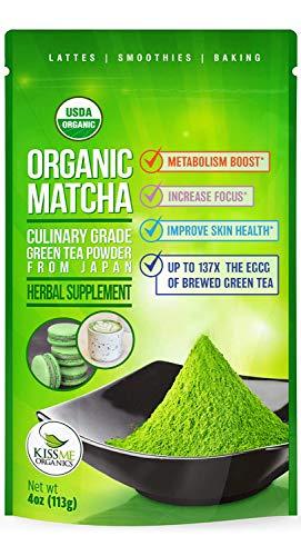 Kiss Me Organics Matcha Green Tea Powder - Organic Japanese Culinary Grade Matcha - 4 ounces (113 grams) (Green Tea Powder Japan)