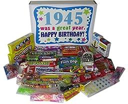 1945 72nd Birthday Gift Basket Box Retro Nostalgic Candy - 72 Years Old