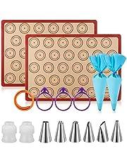 """Silicone Baking Mat Macaron Mat Kit(16pcs set) Macaroon Baking Mat Set of 2 Half Sheet Macaron Silicone Mat Nonstick Macaron Mat Sheet,6 Piping Tip,2 Piping Bag with 3 Bag Tie,2 coupler (11.6""""x16.5"""")"""