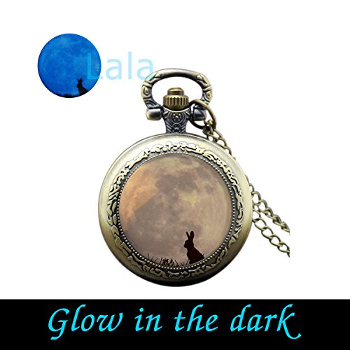Glow in the Dark Rabbit and Moon Hare and Moon Glowing Moon Hare in the Grass Animal and Moon Blue Moon Glow Pocket Watch Necklace (brass) ()