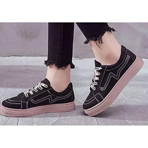 Primavera Comfort Casual Canvas ZHZNVX Scarpe Black piatto tonda Autunno Sneakers Nero Bianco da amp; Tacco donna Punta XwRtBt