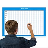 Erasable Wall Annual Calendar Planner Generic Horizontal//17-Inch-by -28-Inch - Light Blue