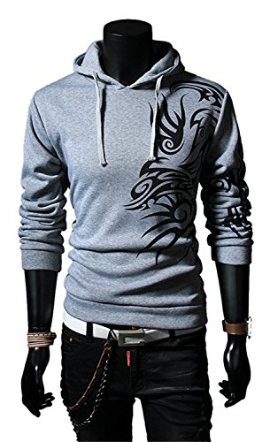 Gathoo Mens Fashion Dragon Tattoo Printed Long Sleeve Pullover Hoodie Shirt Light GreyAsian L (US S) (New And Lace Hampshire Leather)