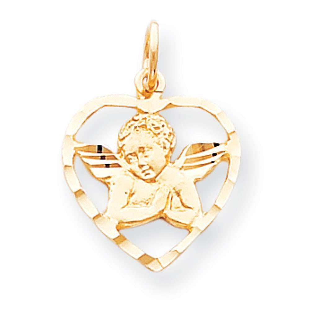 10k Yellow Gold Angel Hear Charm Pendant 25mmx21mm
