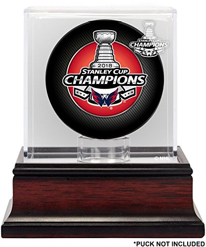 Washington Capitals 2018 Stanley Cup Champions Mahogany Hockey Puck Logo Display Case - Hockey Puck Free Standing Display Cases