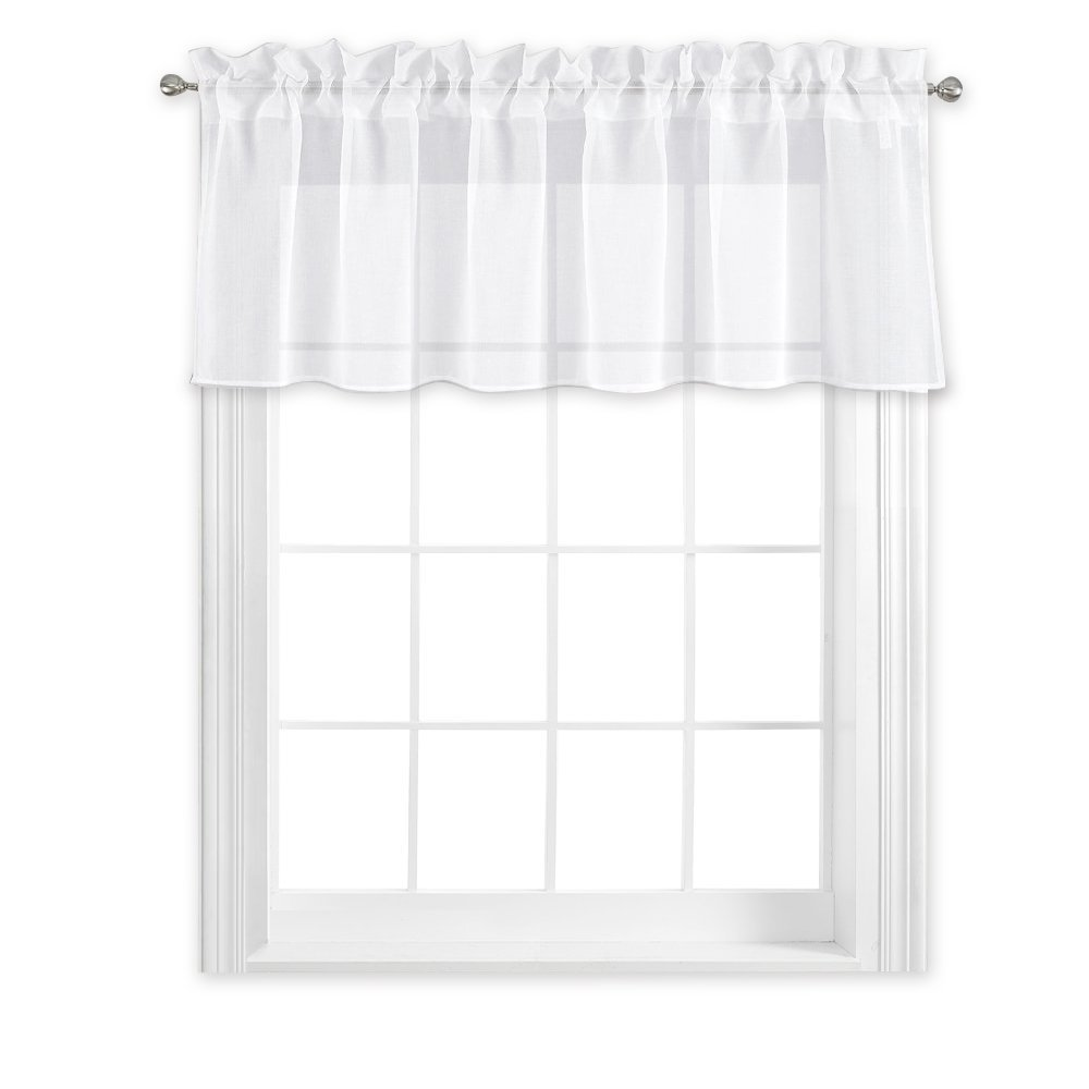 NICETOWN Kitchen Window Treatment Voile Valances   Small Window Linen Look  Sheer Curtain Tiers For Cafe