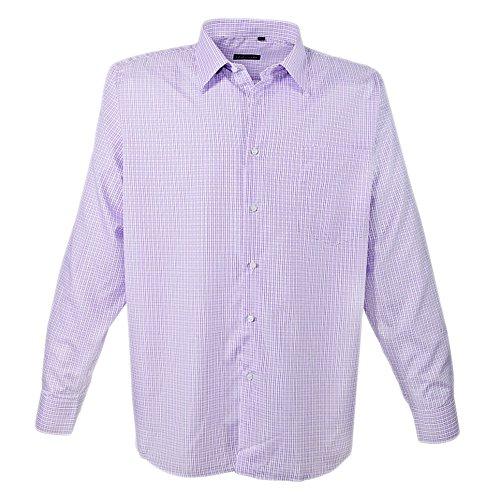 Kariertes langarm Hemd für Herren in Übergröße von Lavecchia mit Brusttasche weiß