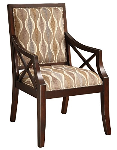 Treasure Trove Accents Accent Chair, Grey and Beige Pattern Fabric