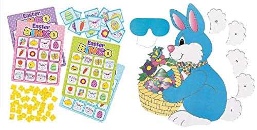 (HAPPY DEALS ~ 2 Awesome Easter Party Games - Easter Bingo Game + Pin The Tail on The Bunny Game- Kids Children's Activity - Classroom - School)