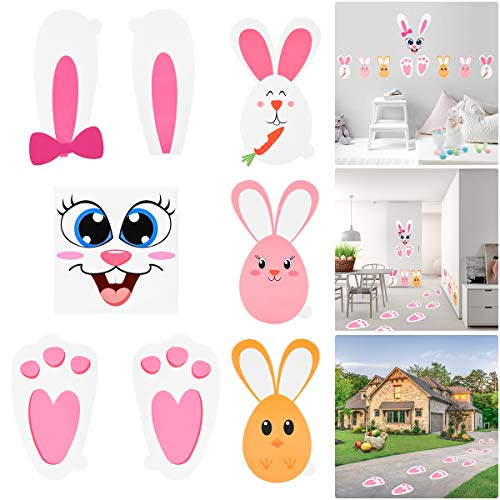 (BESTOYARD Easter Bunny Stickers Set with Bunny Footprints Egg Bunny Face Stickers Floor Decal for Kids Party Birthday Baby Shower Game Garden)