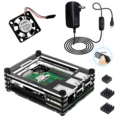 Power Supply Fan Assembly - for Raspberry Pi 3 B+ Case with Fan, 3Pcs Heatsinks and 5V 3A Power Supply with On/Off Switch